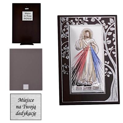 Jezu Ufam Tobie - obrazek srebrny z dedykacją