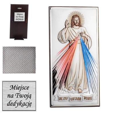 obrazek srebrny Jezu Ufam Tobie w kolorze prezent