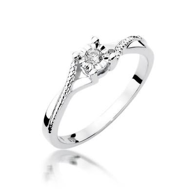Pierścionek z brylantem. Białe złoto pierścionek