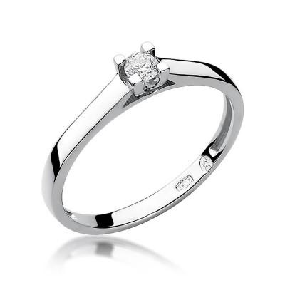 Pierścionek z brylantem, diamentem, białe złoto