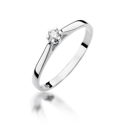 Pierścionek zaręczynowy z brylantem, białe złoto