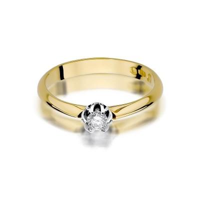 Elegancki pierścionek z diamentem 0,10ct