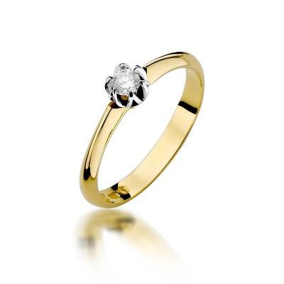 Pierścionek złoty z diamentem 0,10ct