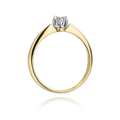Pierścionek złoty 14k z diamentem 0,10ct