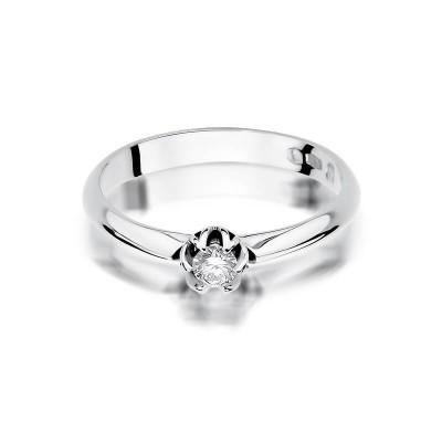 Pierścionek z diamentem białe złoto 585