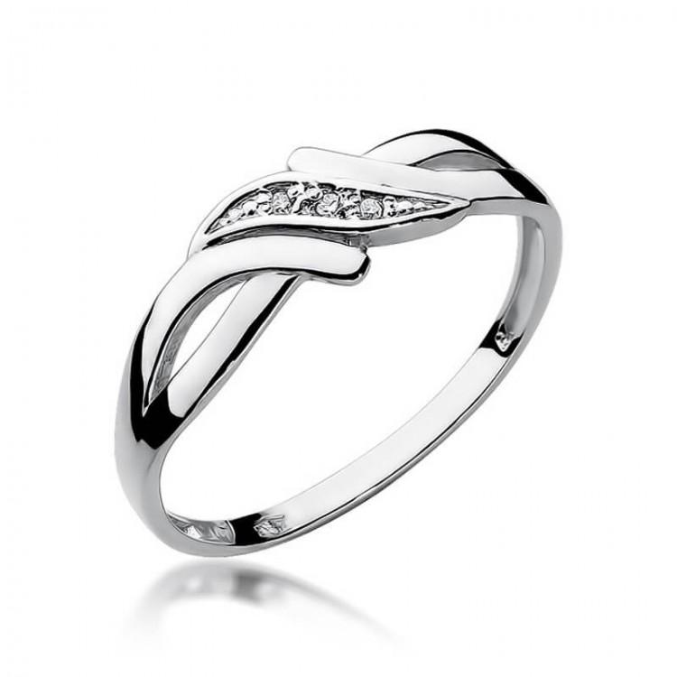 Pierścionek z bursztynami na zaręczyny, białe złoto
