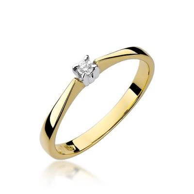Pierścionek z żółtego złota i brylantem