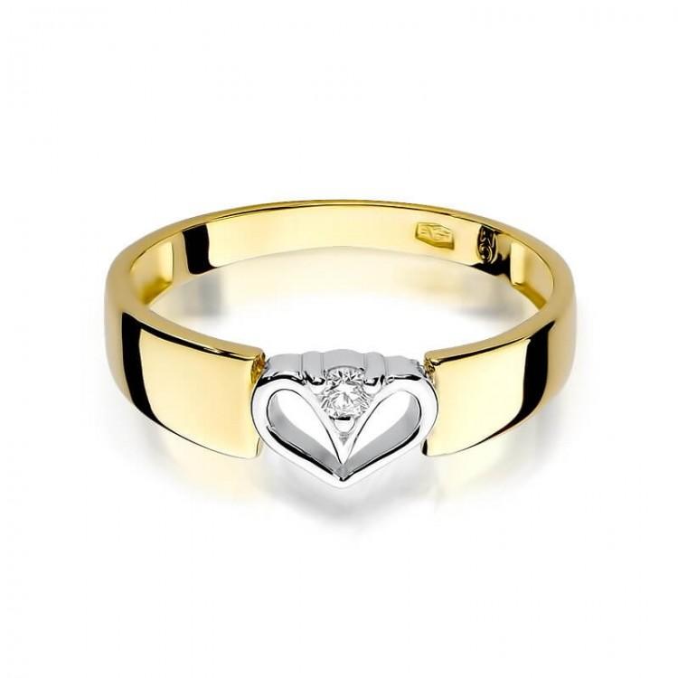 Pierścionek z białego złota z cyrkonią. Au585.