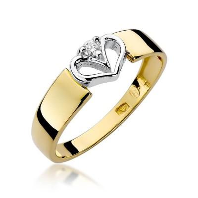 Złote serce z brylantem. Pierścionek zaręczynowy
