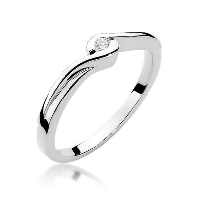 Pierścionek zaręczynowy z małym oczkiem, białe złoto