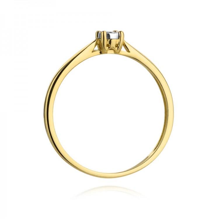 Pierścionek złoty z cyrkonią. Au585.