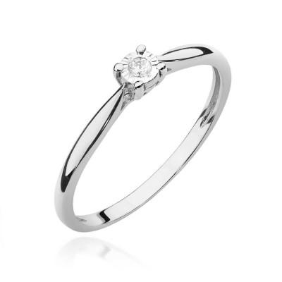 Elegancki pierścionek zaręczynowy białe złoto