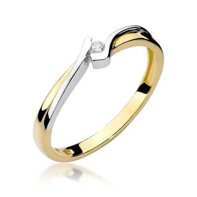 Pierścionek zaręczynowy z jednym brylantem