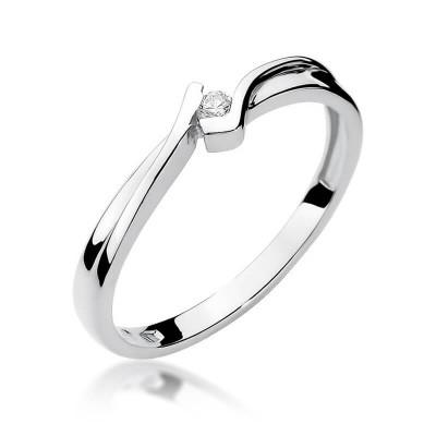 Pierścionek zaręczynowy z jednym brylantem białe złoto
