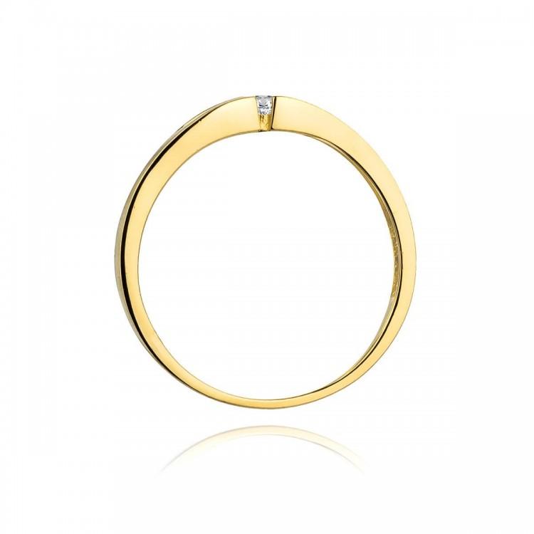 Pierścionek złoty z cyrkoniami. Au585.