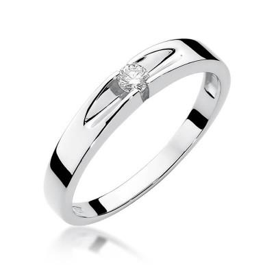 Białe złoto pierścionek z oczkiem zaręczyny