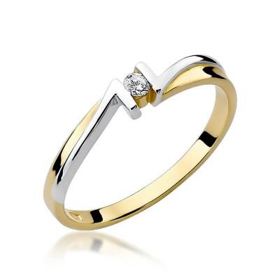 Żółte złoto z brylantem. Pierścionek