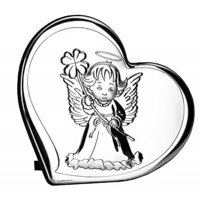 Obrazek srebrny Aniołek z koniczynką