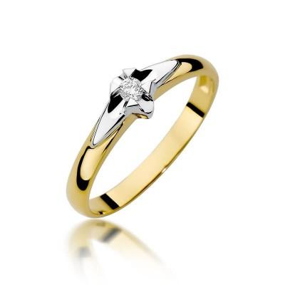 Delikatny złoty pierścionek na zaręczyny