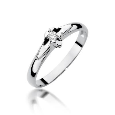 Delikatny pierścionek na zaręczyny białe złoto