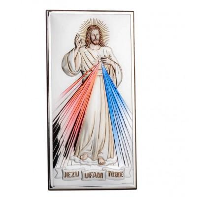 obrazek srebrny Jezus Miłosierny w kolorze