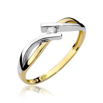 Pierścionek zaręczynowy kręcony żółte złoto