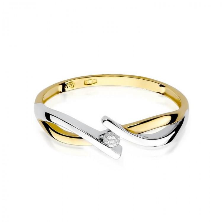 Pierścionek złoty z brylantem.