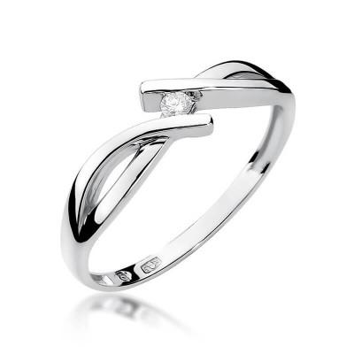 Pierścionek zaręczynowy kręcony białe złoto