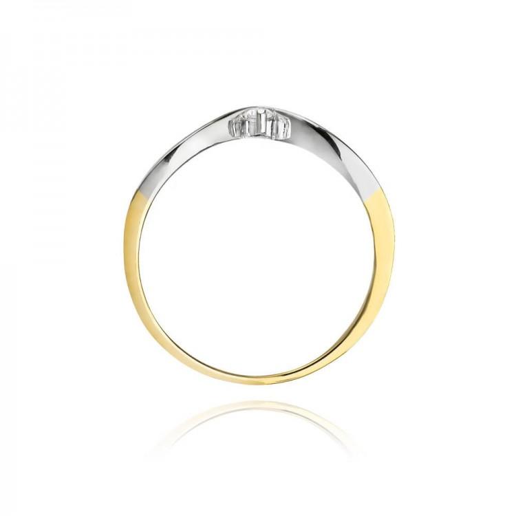 Pierścionek złoty z brylantem. Au585.
