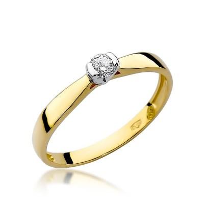 Biały brylant pierścionek złoty