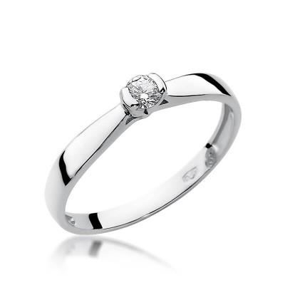 Biały brylant pierścionek białe złoto oświadczyny