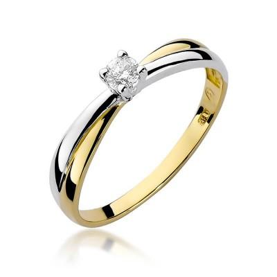 Pierścionek zaręczynowy z brylantem złoto