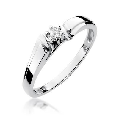Pierścionek zaręczynowy z brylantem białe złoto – dedykacja gratis