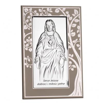 obrazek srebrny Serce Jezusa