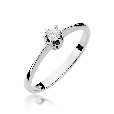 Pierścionek zaręczynowy białe złoto z diamentem
