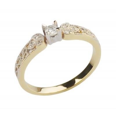 Pierścionek złoty z brylantami Au585