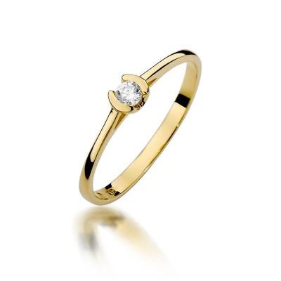 Złoty pierścionek zaręczynowy z oczkiem
