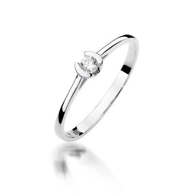 Białe złoto z diamentowym oczkiem - pierścionek