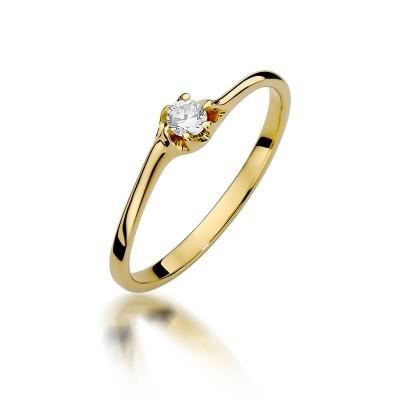 Pierścionek zaręczynowy - żółte złoto. Pierścionek z brylantem