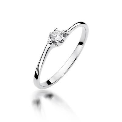 Pierścionek zaręczynowy - białe złoto. Pierścionek z brylantem