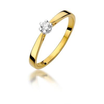 Pierścionek zaręczynowy z diamentem złoty