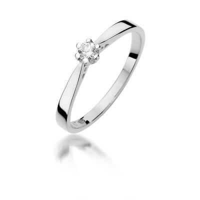 Pierścionek zaręczynowy z diamentem białe złoto