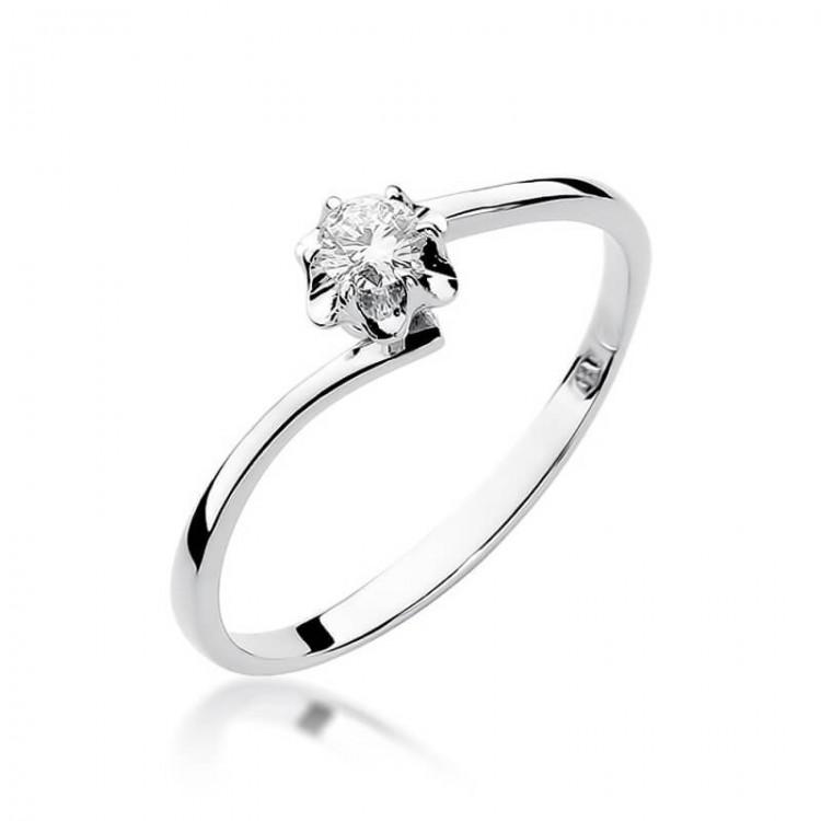 Pierścionek białe złoto z brylantem na zaręczyny