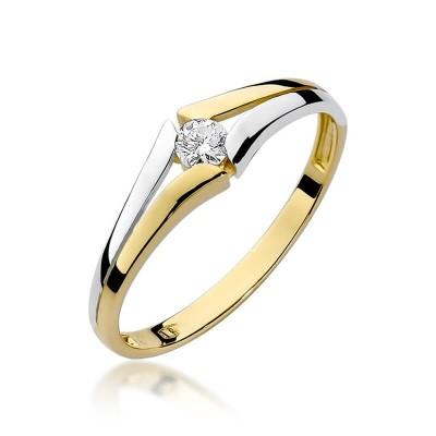Pierścionek złoty z brylantem 0,10ct