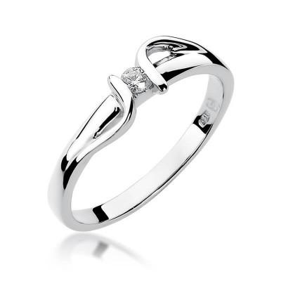 Pierścionek z brylantem - białe złoto