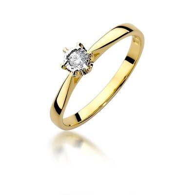 Zaręczynowy pierścionek złoty z brylantem