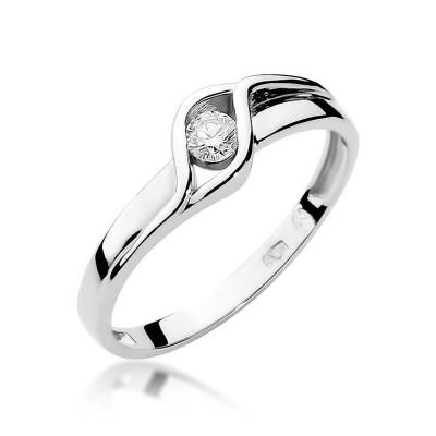 Zaręczynowy pierścionek z brylantem złoto białe