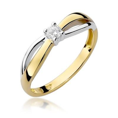 Złoty pierścionek z białym brylantem