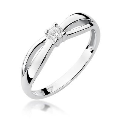 Pierścionek złoto białe z diamentem – tanio