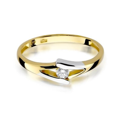 Złoty pierścionek z brylantem dedykacja gratis